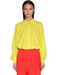 Rochas Pleated Silk Crepe Shirt Lime Green