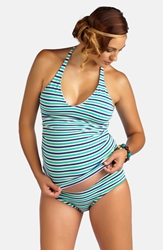 Pez D U0027or Striped Sporty Tankini Maternity Swimsuit Mint Navy