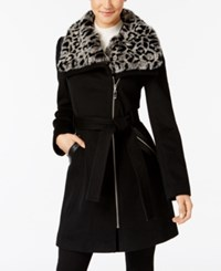 Via Spiga Faux Fur Collar Asymmetrical Coat Charcoal Snow Leopard