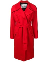 Vivienne Westwood Oversized Lapel Belted Coat Red