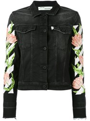 Off White Floral Sleeve Denim Jacket Women Cotton Polyester Spandex Elastane S Black