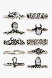 Boohoo Daisy 10 Piece Stone Set Ring Pack Silver