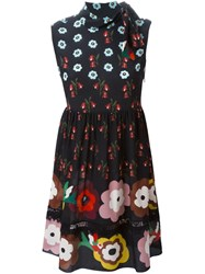 Red Valentino Flower Print Skater Dress Black