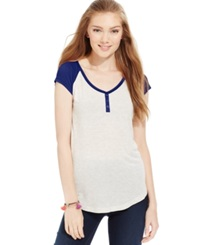 Hippie Rose Juniors' Faux Henley Cap Sleeve Baseball Tee Oatmeal Tapestry Blue
