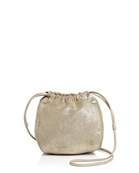 Halston Heritage Iconic Drawstring Small Metallic Suede Crossbody Platinum