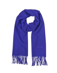 Moschino Solid Wool Signature Long Scarf W Fringe Blue