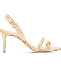 Michael Michael Kors Jackie Chain Embellished Leather Heeled Sandals Gold