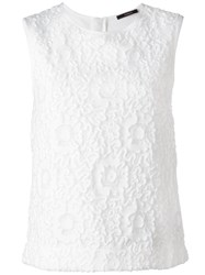 Odeeh Floral Lace Sleeveless Top White
