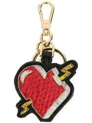 Bally Heart Embroidered Keychain
