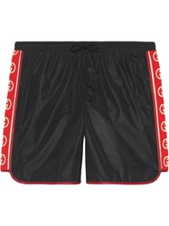 Gucci Nylon Swim Shorts With Logo Stripe Black