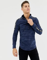 Hollister Taped Logo Hooded Long Sleeve Top In Navy Navy Texture
