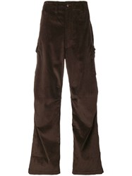 E. Tautz Corduroy Cargo Trousers Brown