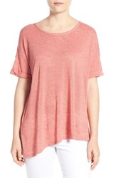 Women's Bobeau Short Sleeve Asymmetrical Knit Top Coral Spice