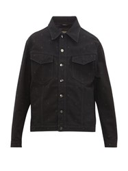 Fendi Ff Embroidered Denim Jacket Black