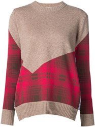 Thakoon Addition Plaid Panel Combo Sweater Brown