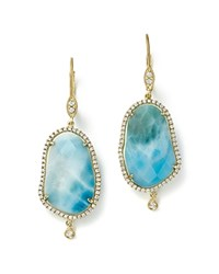 Meira T 14K Yellow Gold Larimar Drop Earrings With Diamonds Blue White