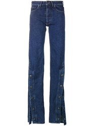 Y Project Buttoned Cuff Jeans Women Cotton S Blue