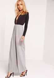 Missguided Pleat Front Wide Leg Trousers Grey Grey