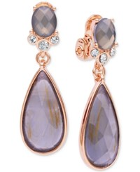 Anne Klein Teardrop Stone And Crystal Clip On Drop Earrings Rose Gold