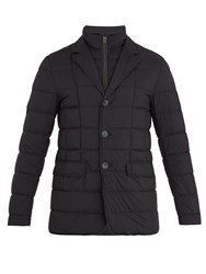 Herno Notch Lapel Quilted Down Coat Navy