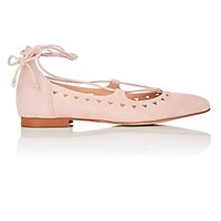 Barneys New York Perforated Suede Lace Up Flats Rose