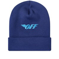 Off White Embroidered Logo Beanie Blue
