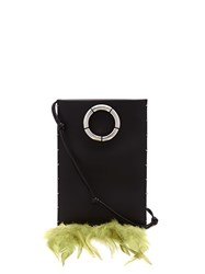 The Row Medicine Feather Trimmed Leather Cross Body Bag Black Green
