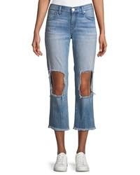 True Religion Starr Destroyed Knee Zip Cuff Jeans Blue