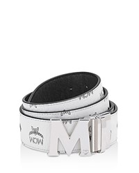 Mcm Visetos M Buckle Reversible Signature Belt White
