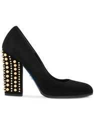 Loriblu Studded Heel Pumps Leather Suede Rubber 37.5 Black