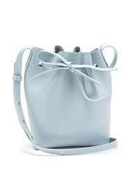 Mansur Gavriel Blue Lined Mini Leather Bucket Bag Light Grey