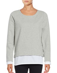 Marc New York Mock Layer Pullover Light Grey Heather
