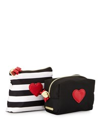 Betsey Johnson Away We Go Two Piece Cosmetic Bag Set Black White