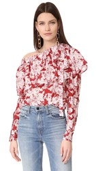 Robert Rodriguez Printed One Shoulder Ruffle Top Crimson