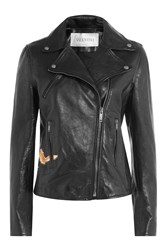 Valentino Leather Jacket With Stud Embellishment Black