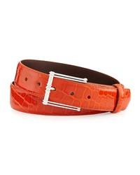 W.Kleinberg Glazed Alligator Belt With 'The Chair' Buckle Orange Made To Order