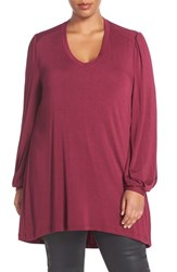 Melissa Mccarthy Seven7 Plus Size Women's Long Sleeve V Neck Tee Potion Purple