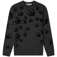 Mcq By Alexander Mcqueen Large Swallow Flocked Crew Sweat Black