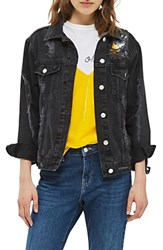 Topshop Women's Extreme Rip Denim Jacket