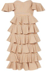 Caroline Constas Irene Off The Shoulder Ruffled Striped Cotton Dress Tan