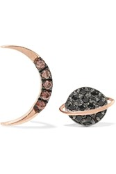 Aamaya By Priyanka Saturn Half Moon Rose Gold Plated Zircon Earrings Rose Gold Black