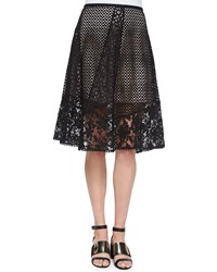 See By Chloe Lace A Line Knee Length Skirt Black