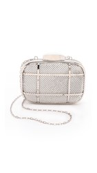 Whiting And Davis Cage Minaudiere Clutch Silver
