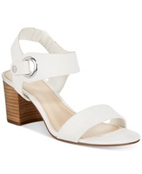 Bar Iii Birdie City Two Piece Block Heel Sandals Only At Macy's Women's Shoes White