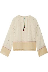 Mes Demoiselles Orpheo Embroidered Cotton Gauze Blouse Ivory