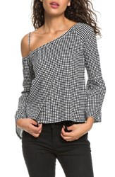 Roxy Print One Shoulder Top Marshmallow Square Land
