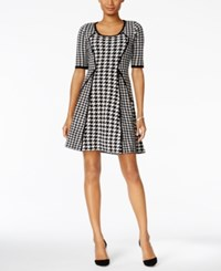 Sandra Darren Houndstooth Fit And Flare Sweater Dress Ivory Black