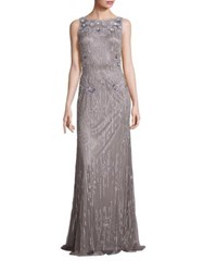 Theia Sleeveless Sequin Beaded Gown Silver