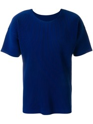 Homme Plisse Issey Miyake Pleated Structured T Shirt Blue