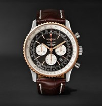 Breitling Navitimer 1 Chronograph 46Mm Steel Red Gold And Crocodile Watch Black